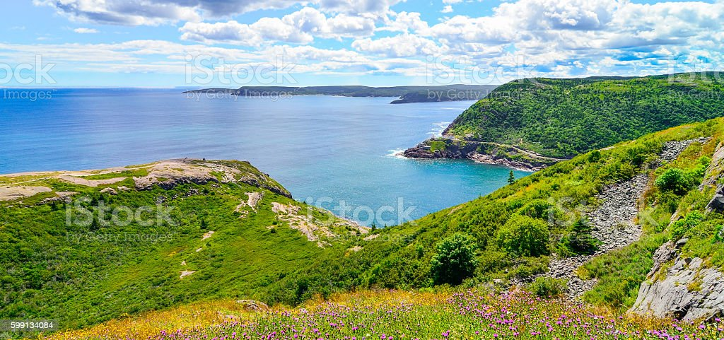 Historic site  Fort Amherst, St John's Newfoundland. Cape Spear background stock photo