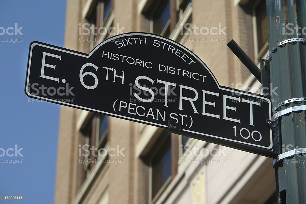 Historic Sixth Street sign Austin, Texas stock photo