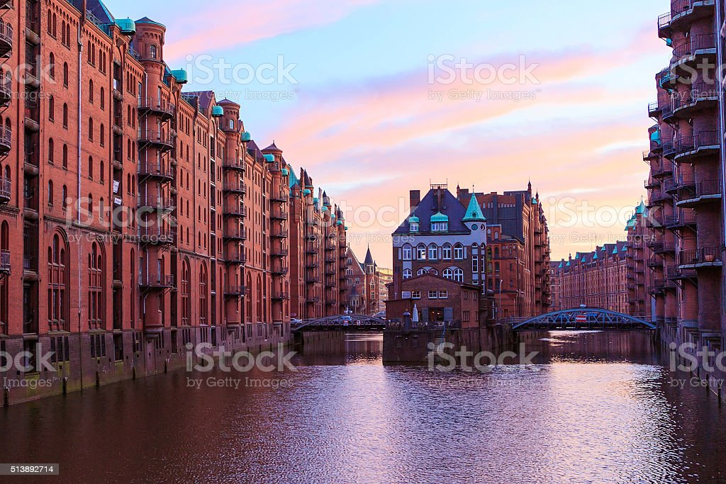 Historic Speicherstadt (houses and bridges) in Hamburg stock photo