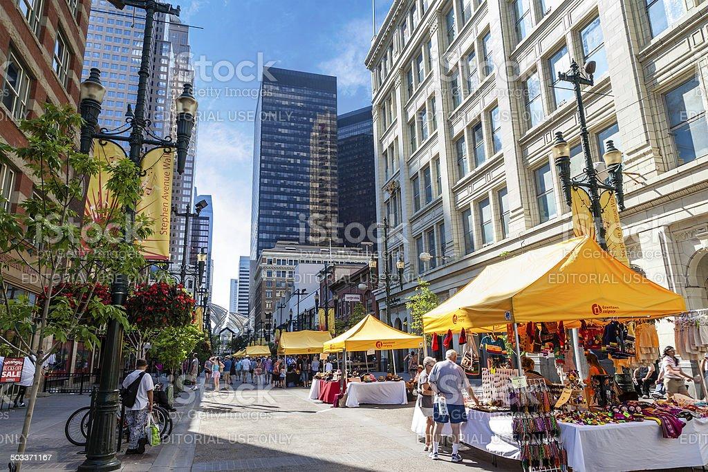 Historic Stephen Avenue Walk in Calgary, Canada stock photo