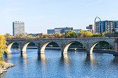 Historic Stone Arch Bridge over the Mississippi River in Minneapolis