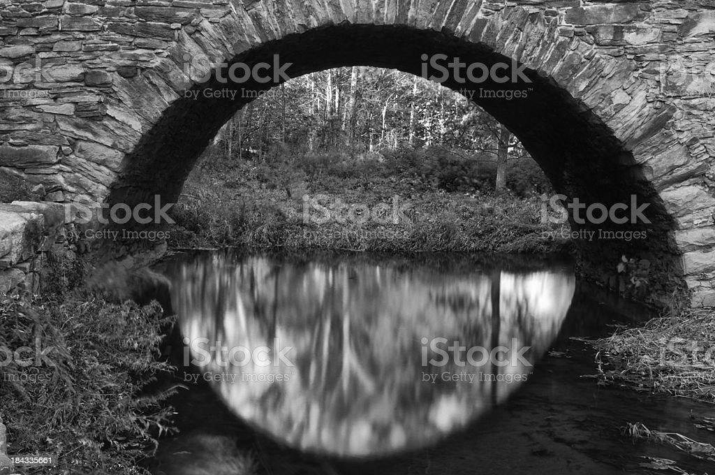 Historic Stone Arch Bridge Over Water stock photo