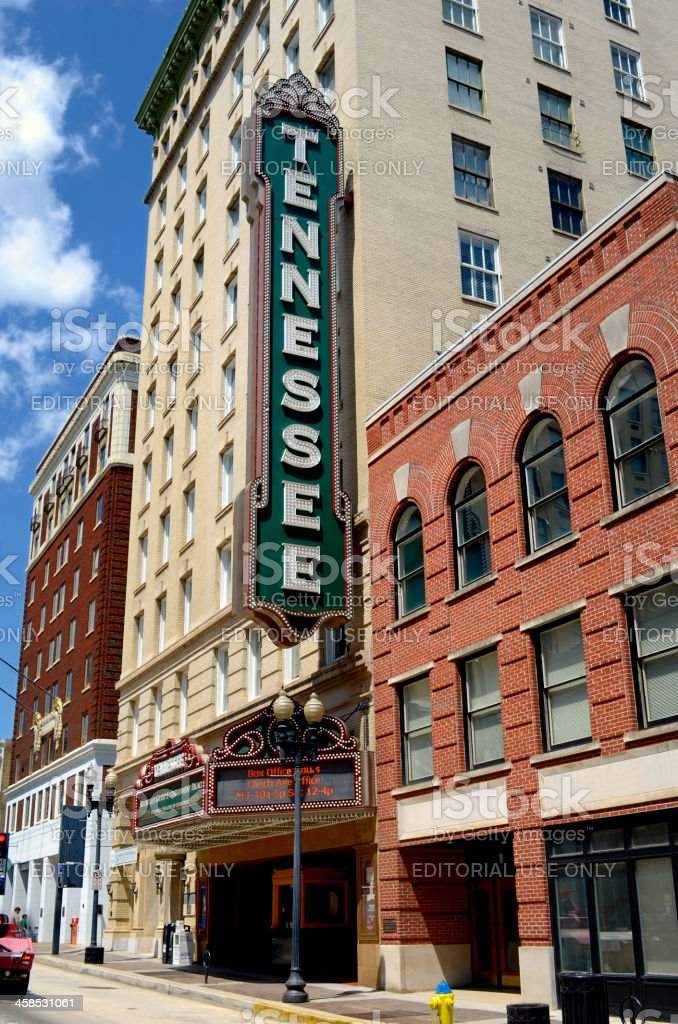 Historic Tennessee Theater on Gay Street, Knoxville, TN USA royalty-free stock photo