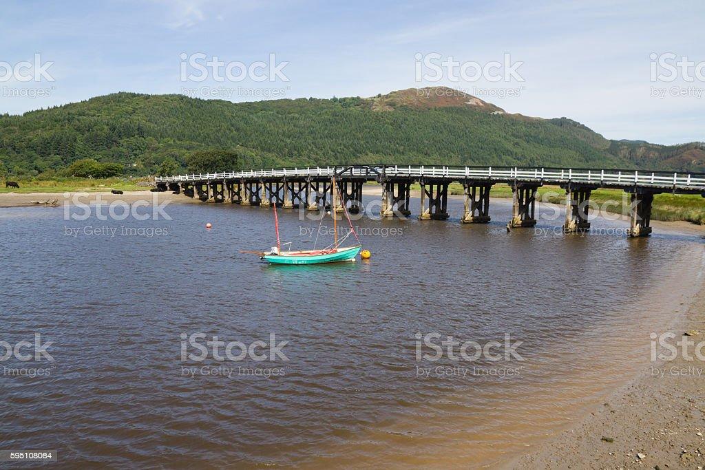 Historic Toll Bridge over river Mawddach near Dolgellau,Snowdonia, Wales stock photo