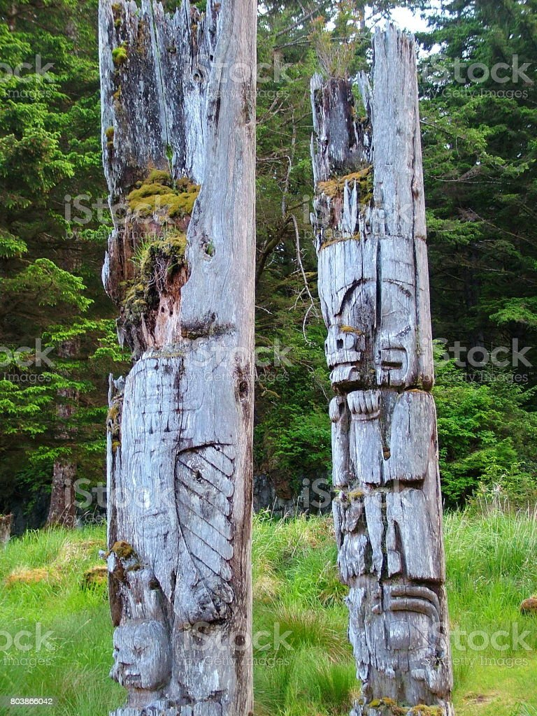 Historic Totem Poles stock photo