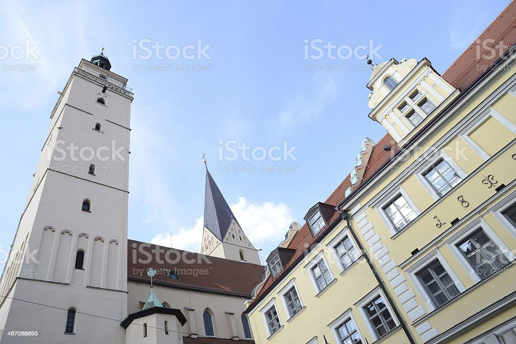 Historic Town Hall and Moritzkirche in Ingolstadt royalty-free stock photo