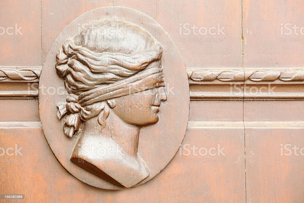 historic town hall door in Gera with Lady Justice stock photo