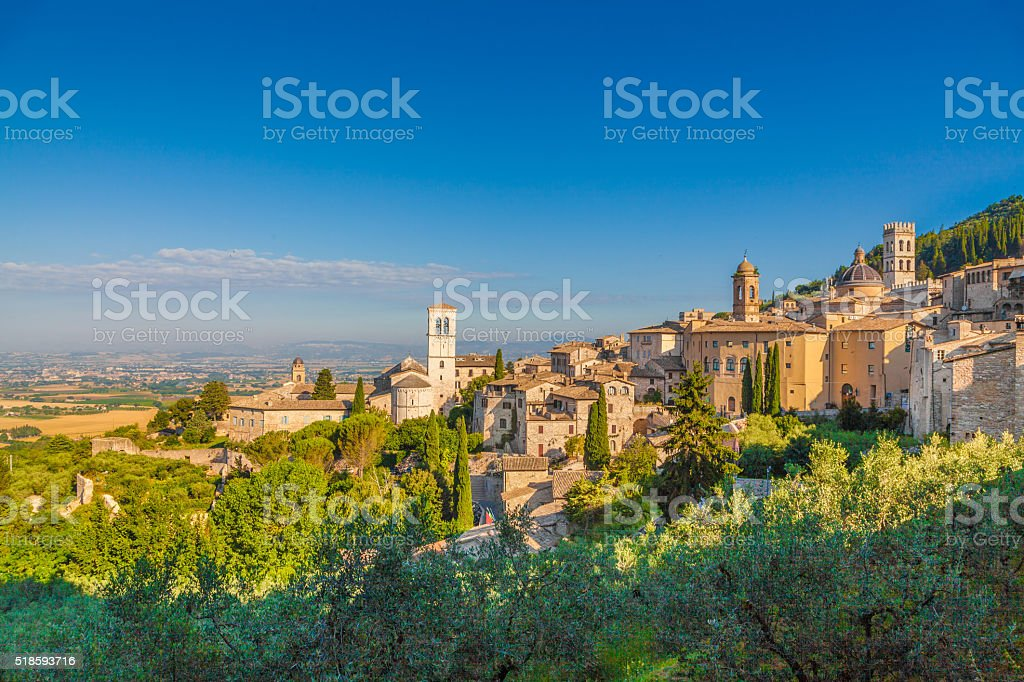 Historic town of Assisi at sunrise, Umbria, Italy stock photo