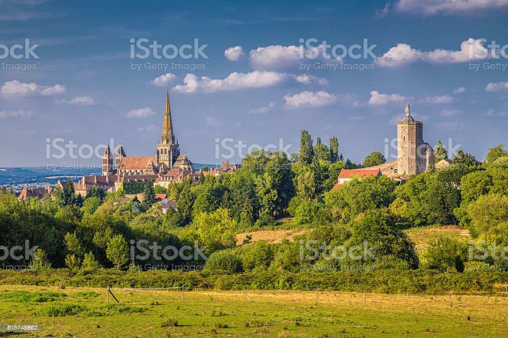 Historic town of Autun with St. Lazare Cathedral at sunset stock photo