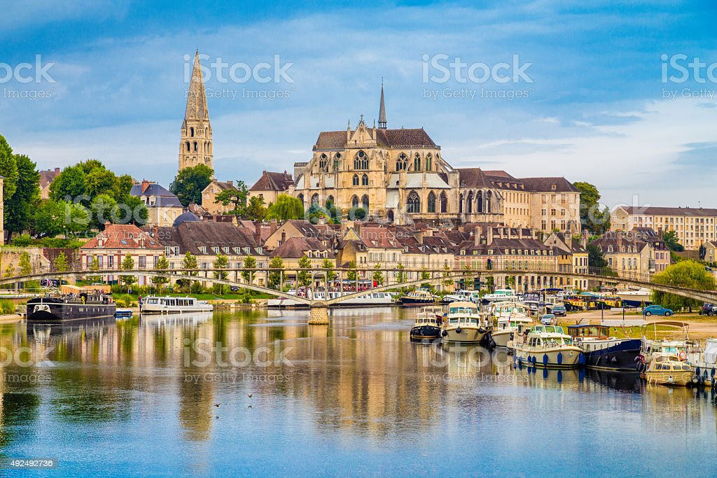 Historic town of Auxerre with Yonne river, Burgundy, France stock photo