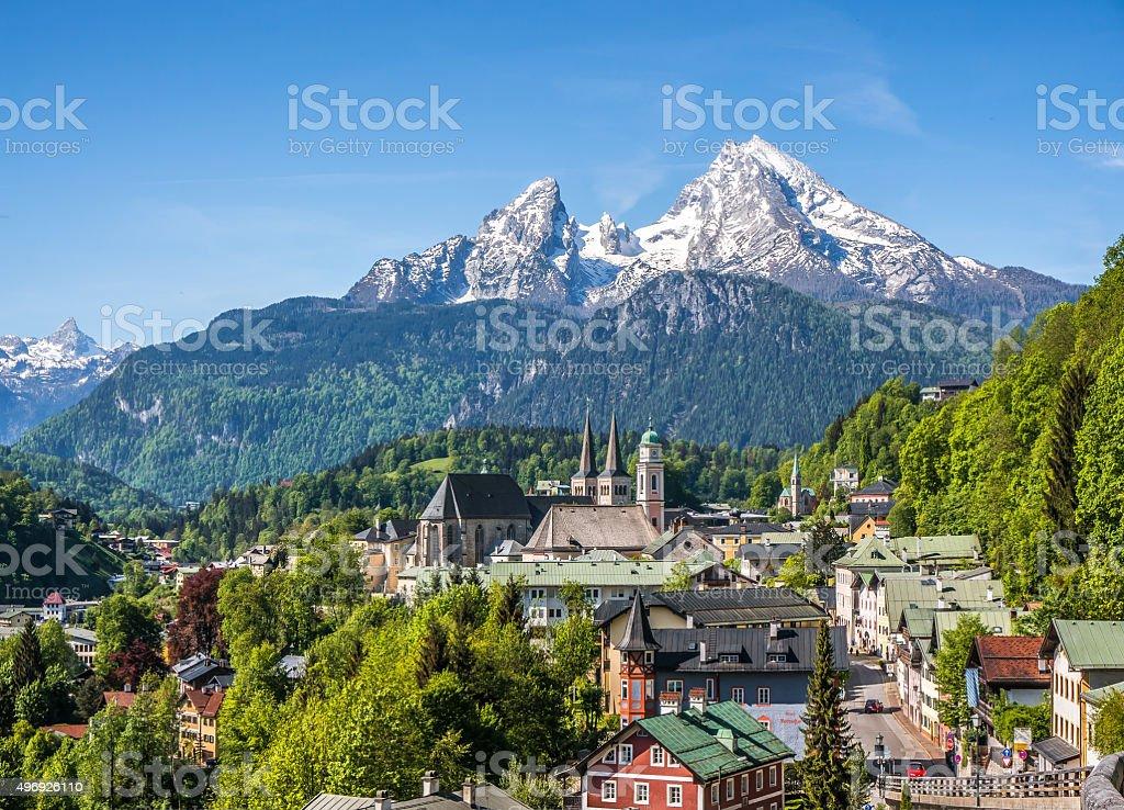 Historic town of Berchtesgaden with Watzmann mountain, Bavaria, Germany stock photo