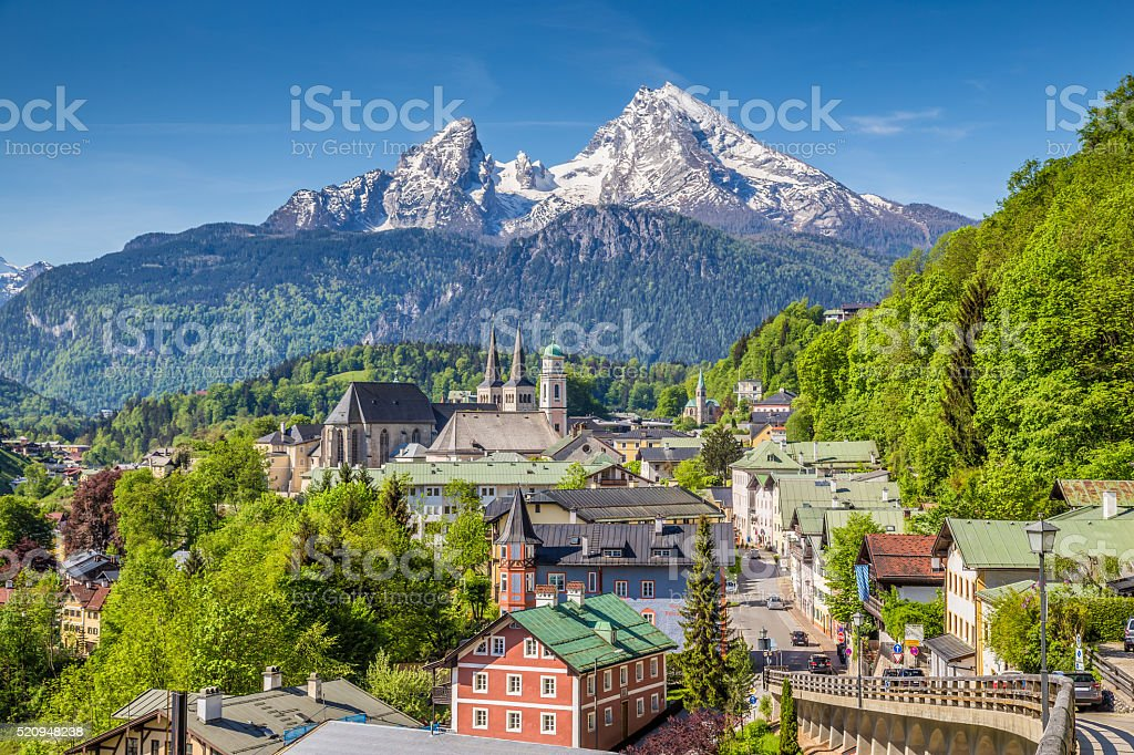 Historic town of Berchtesgaden with Watzmann mountain, Bavaria, Germany stock photo
