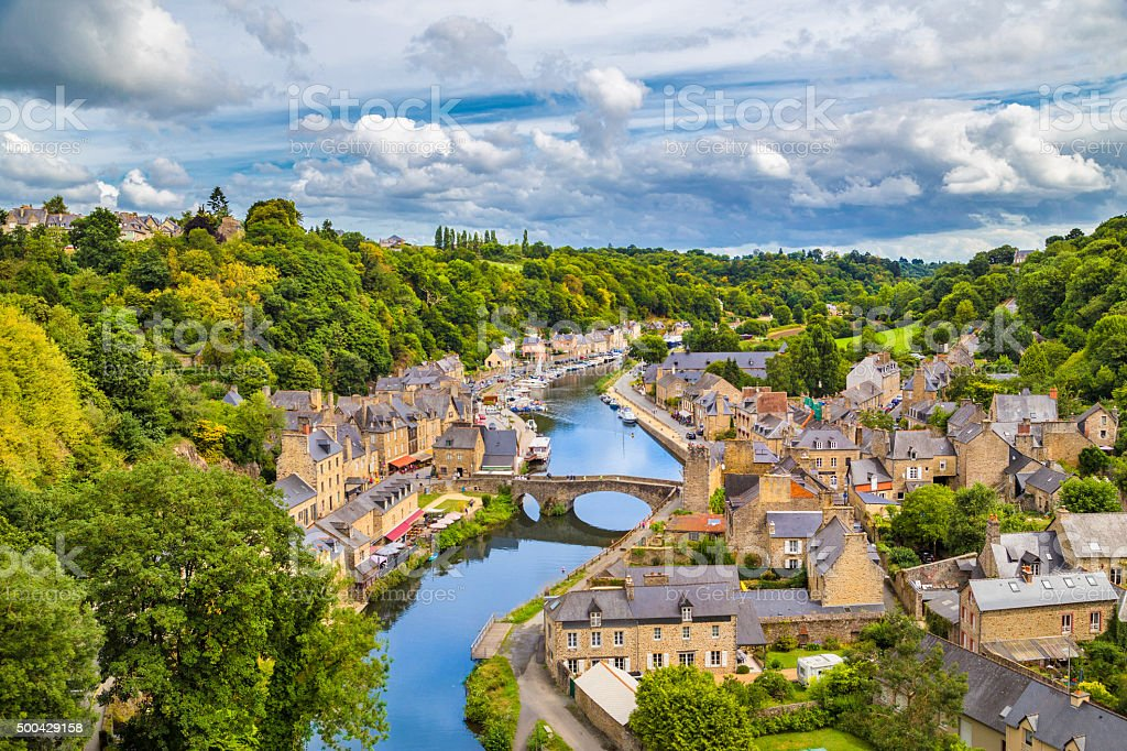 Historic town of Dinan, Bretagne, France stock photo