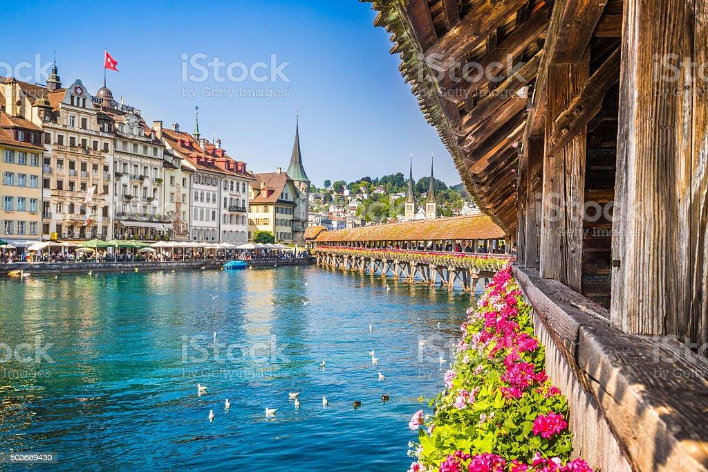 Historic town of Lucerne with Chapel Bridge, Switzerland stock photo
