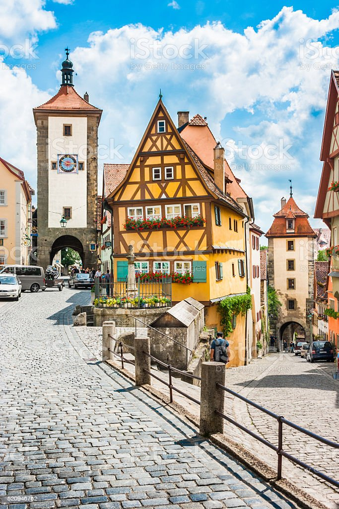 Historic town of Rothenburg ob der Tauber, Bavaria, Germany stock photo