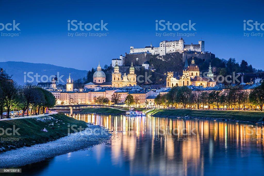Historic town of Salzburg at dusk, Salzburger Land, Austria stock photo