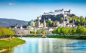 Historic town of Salzburg with Salzach river in summer, Austria