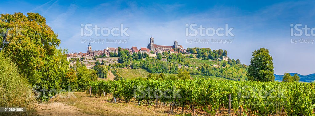 Historic town of Vezelay with famous Abbey, Burgundy, France stock photo