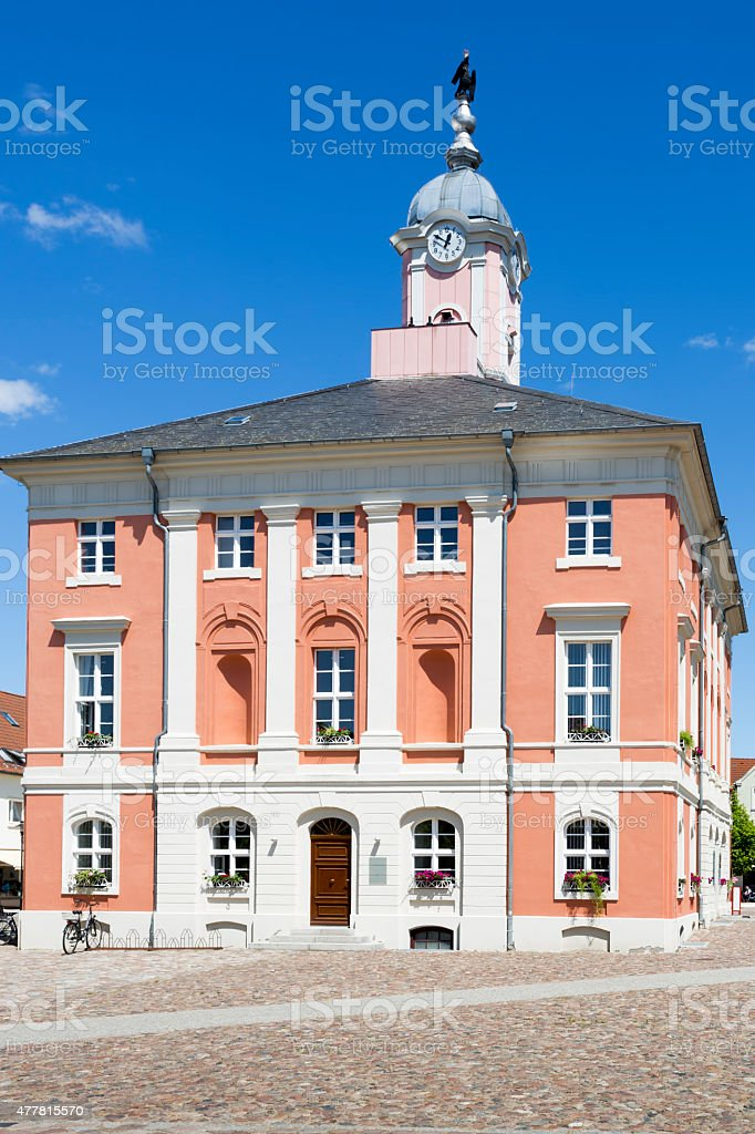 Historic townhall of Templin, East Germany stock photo