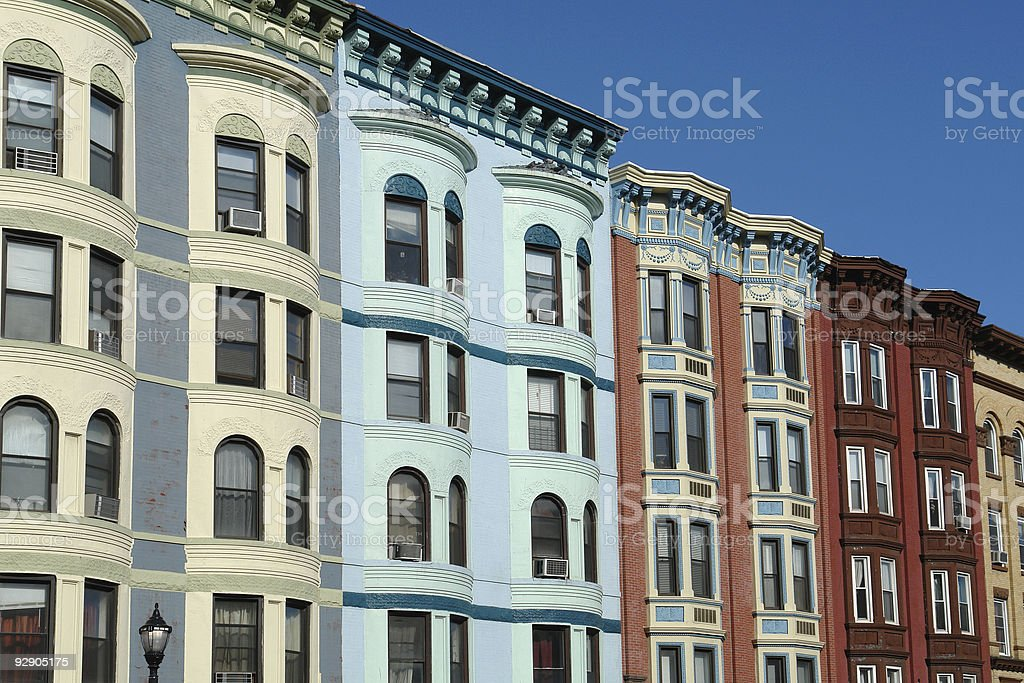 historic townhomes in a row stock photo