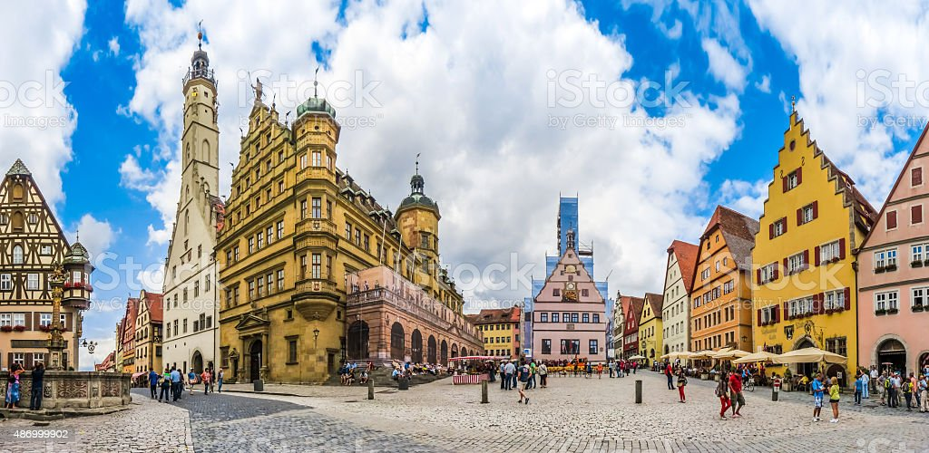 Historic townsquare of Rothenburg ob der Tauber, Franconia, Bavaria, Germany stock photo