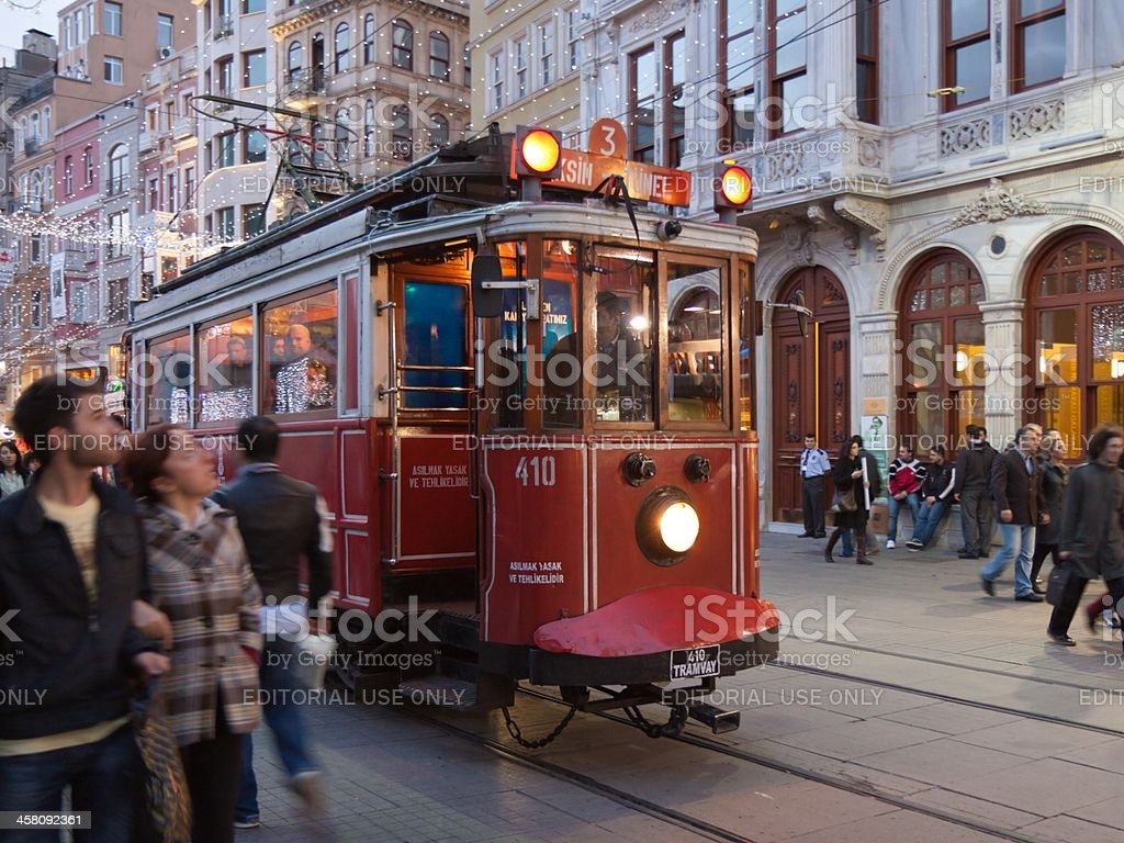 Historic tram in Istanbul stock photo
