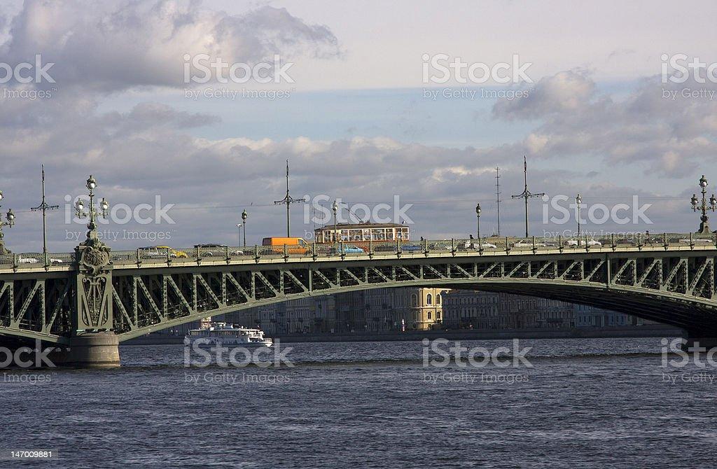 Historic tram on Troitskiy bridge royalty-free stock photo