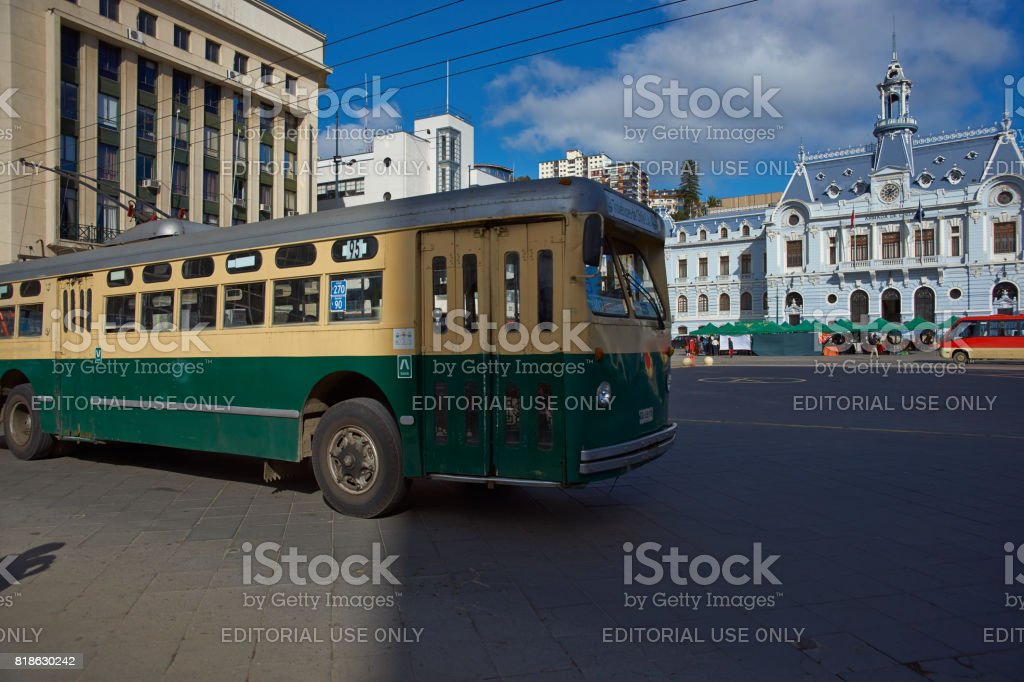 Historic trolleybus in Valparaiso stock photo
