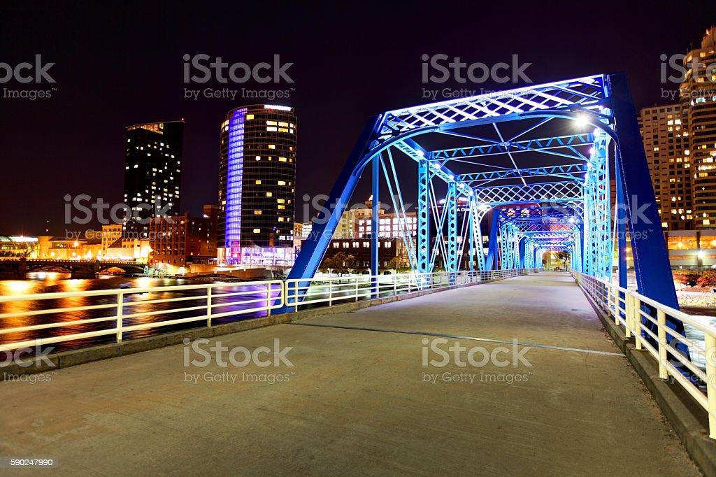 Historic Truss Bridge Grand Rapids, Michigan stock photo