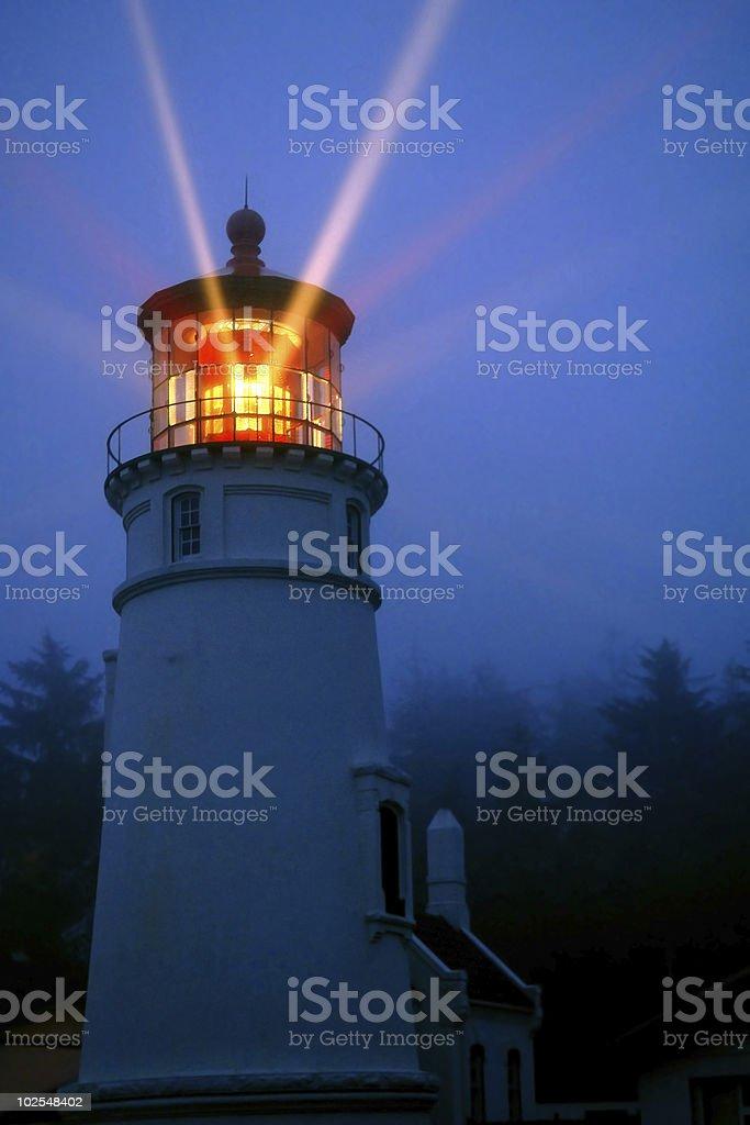 historic umpqua lighthouse on oregon coast stock photo