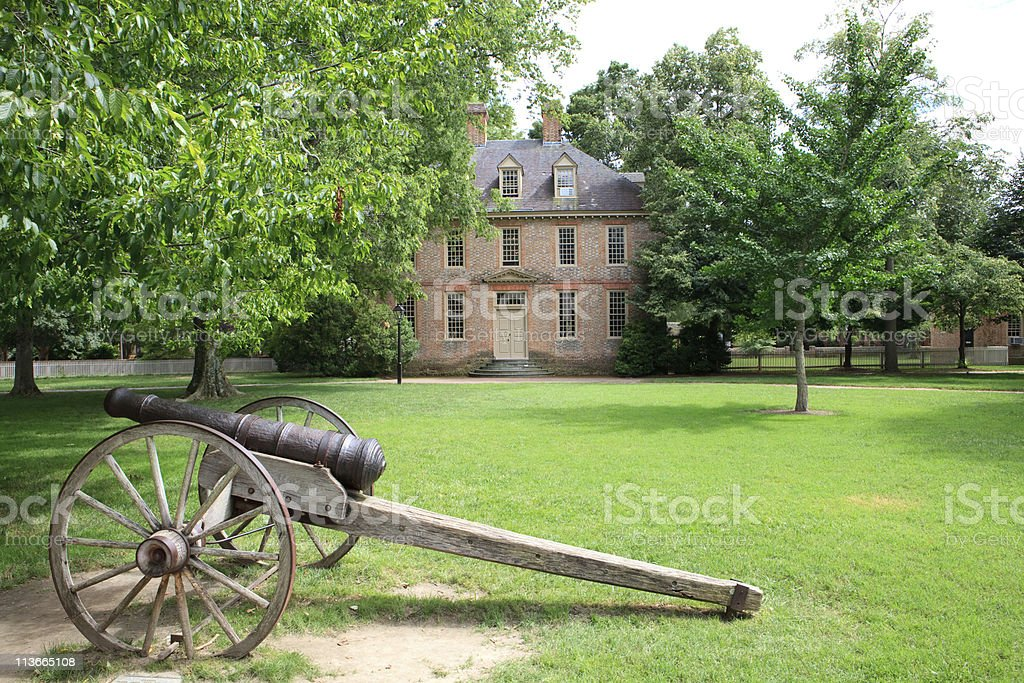 historic university campus in Williamsburg, Va stock photo