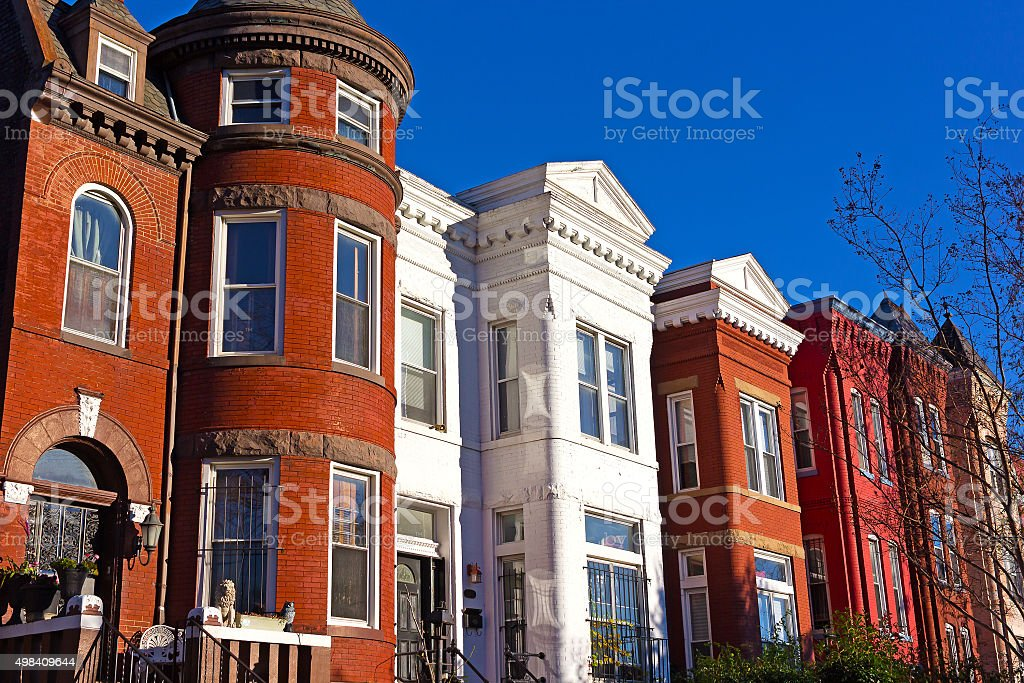Historic urban architecture in Mount Vernon suburb of Washington DC. stock photo