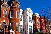 Historic urban architecture in Mount Vernon suburb of Washington DC.
