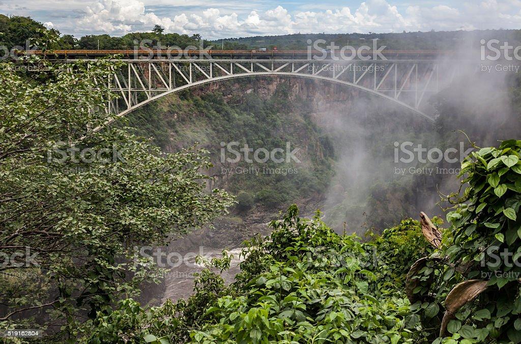 Historic Victoria Falls rail, road, pedestrian Bridge, from Zambian side. stock photo