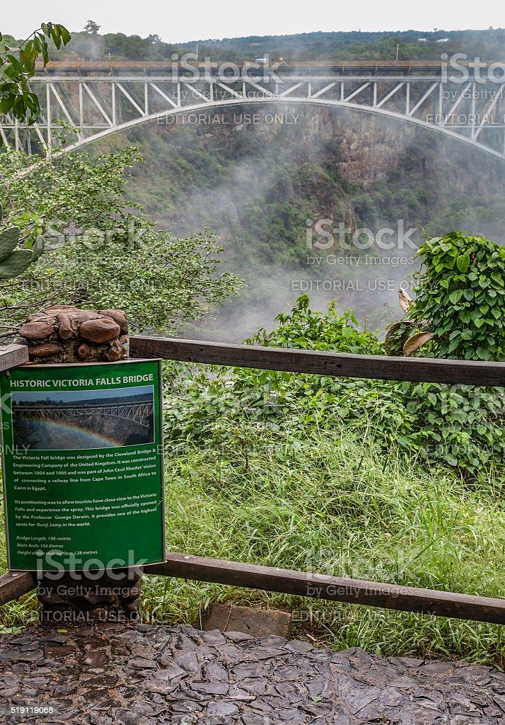 Historic Victoria Falls rail, road, pedestrian Bridge, with sign stock photo