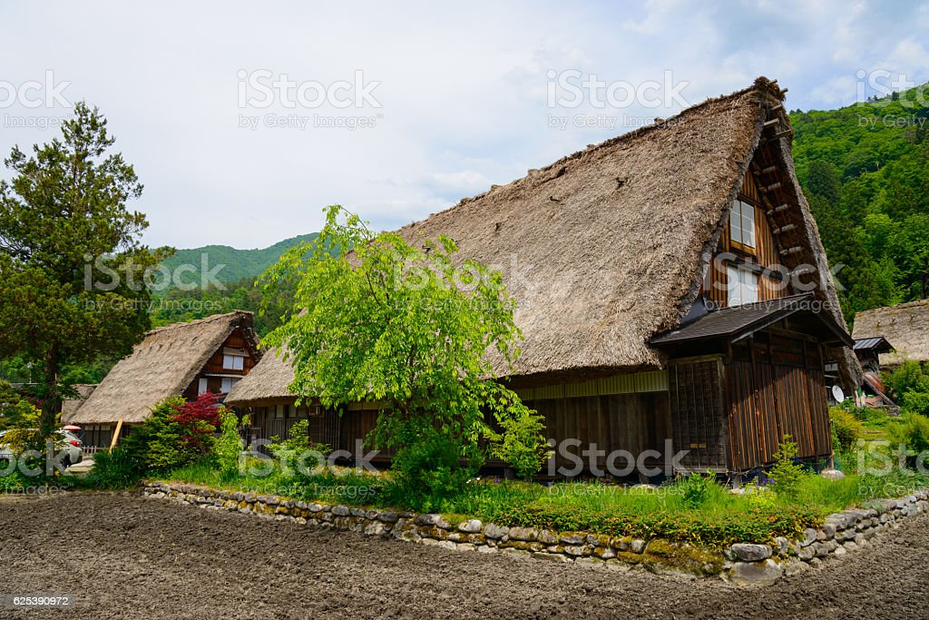 Historic Village of Shirakawa-go in spring stock photo