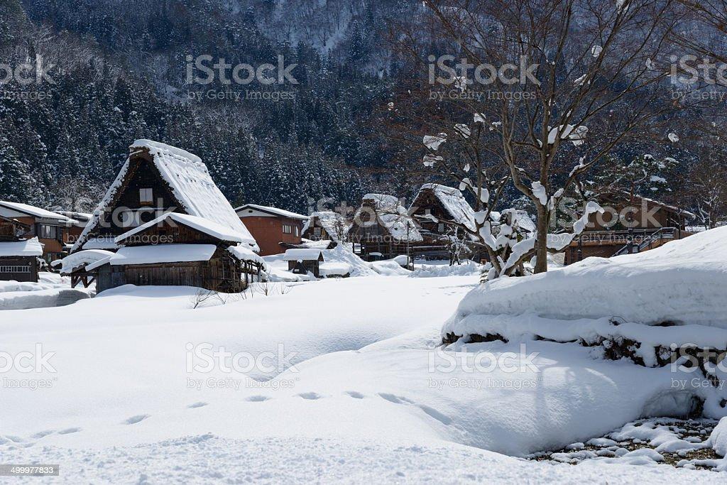 Historic Village of Shirakawa-go in winter stock photo