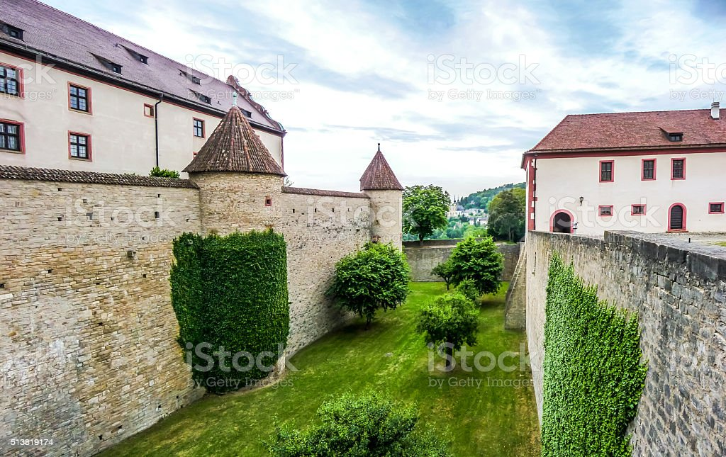 Historic walls of famous fortress Marienberg in Wurzburg, Bavaria, Germany stock photo