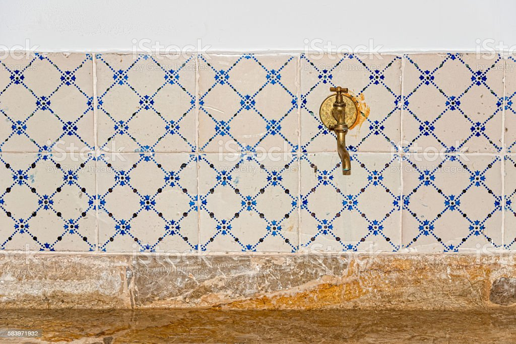 historic water tap or faucet in an old kitchen stock photo