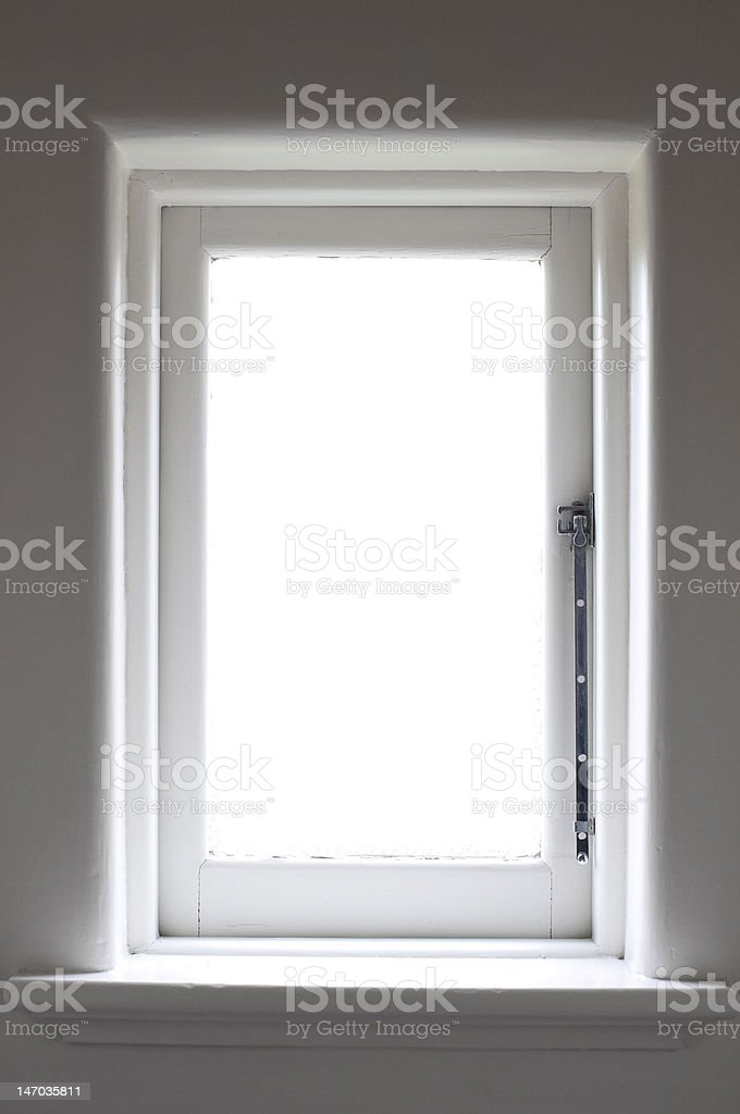 historic white wooden window with sun light royalty-free stock photo