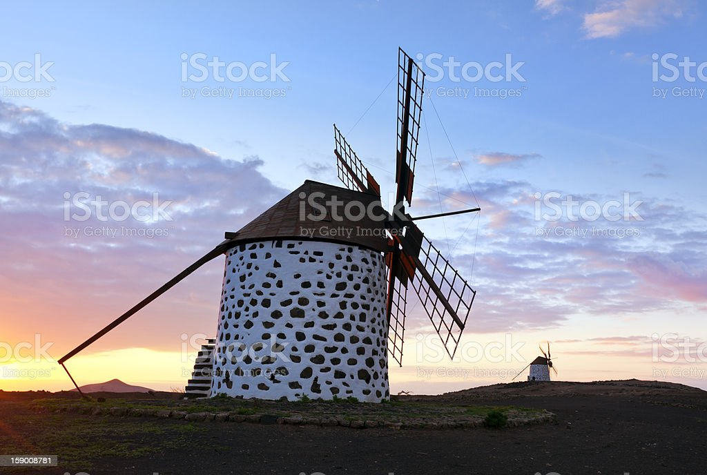 Historic windmills near La Oliva, Fuerteventura stock photo