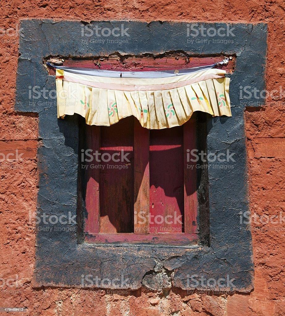 historic window from Namgyal Tsemo Gompa - Leh - Ladakh - India stock photo