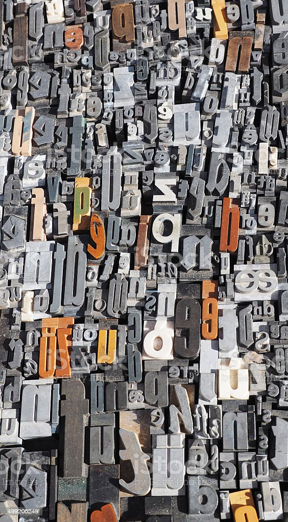 Historic wooden blocks letters royalty-free stock photo