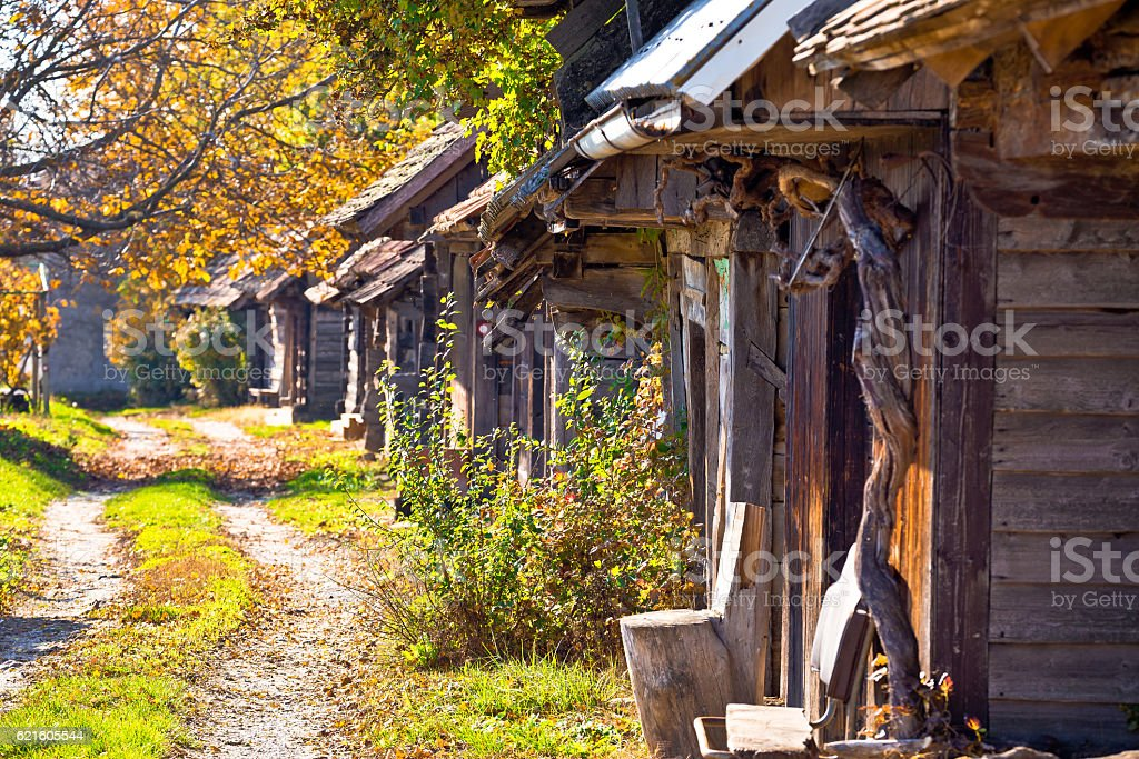 Historic wooden cottages street Ilica stock photo