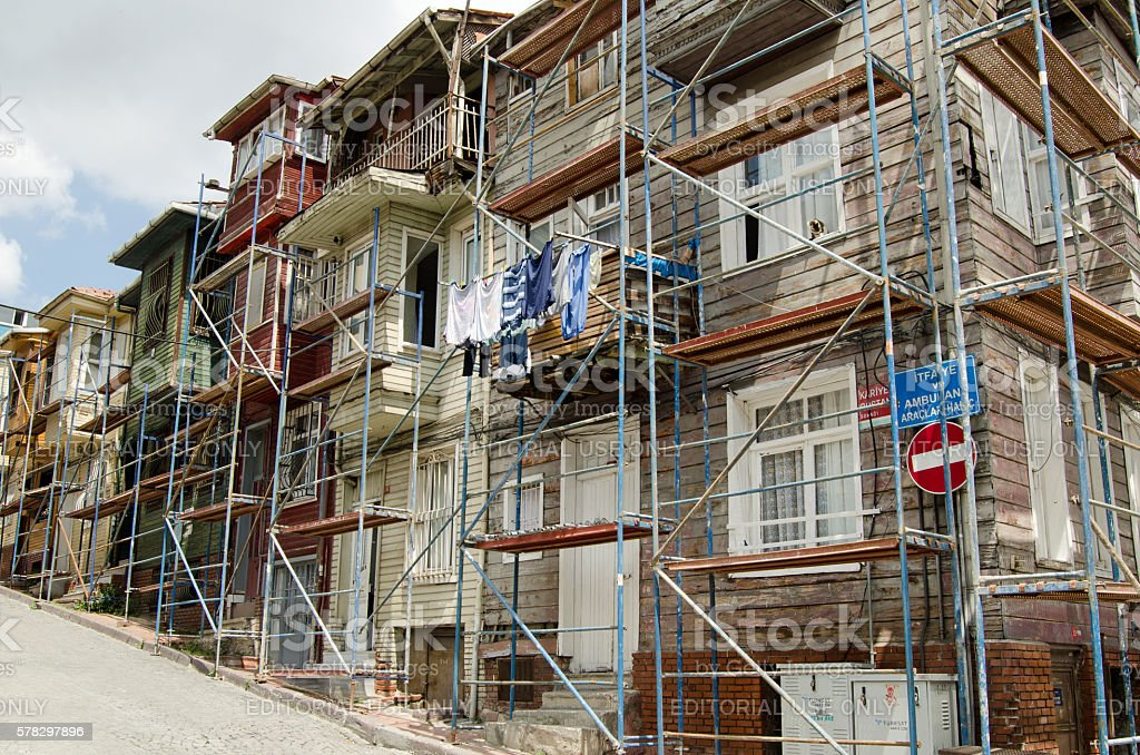 Historic wooden homes, Istanbul stock photo