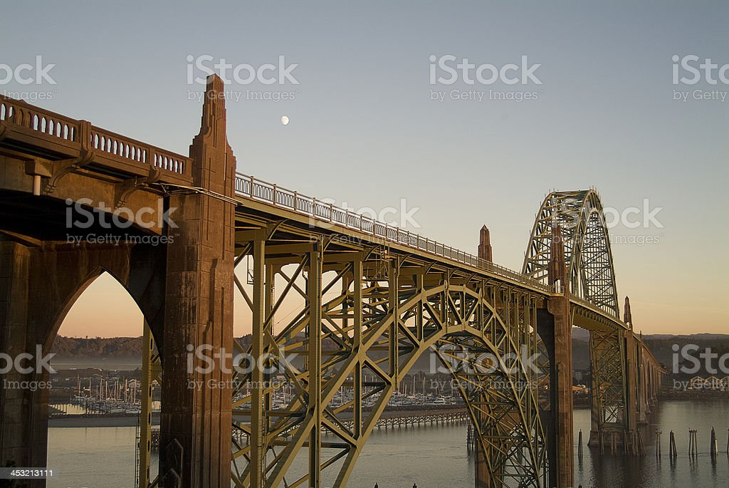 Historic Yaquina Bay Bridge Newport Oregon Highway 101 Landmark stock photo