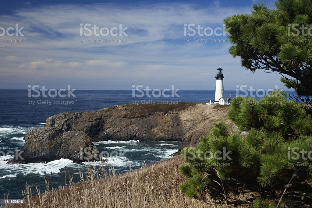 Historic Yaquina Head Lighthouse, on Oregon's Pacific Ocean Coast stock photo