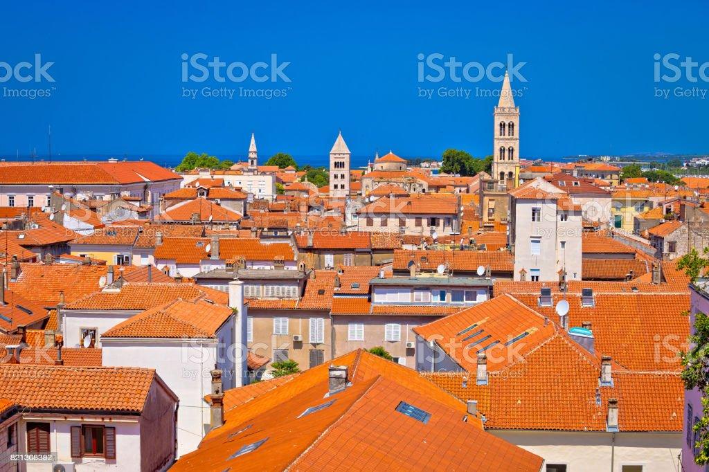 Historic Zadar skyline and rooftops view, Dalmatia, Croatia stock photo