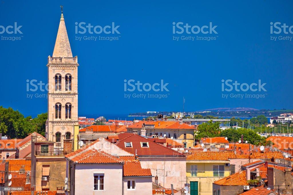 Historic Zadar skyline and rooftops view, Dalmatia region of Croatia stock photo