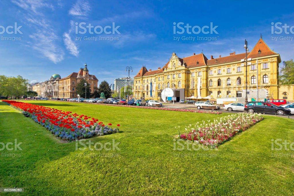 Historic Zagreb architecture and nature view, capital of Croatia stock photo